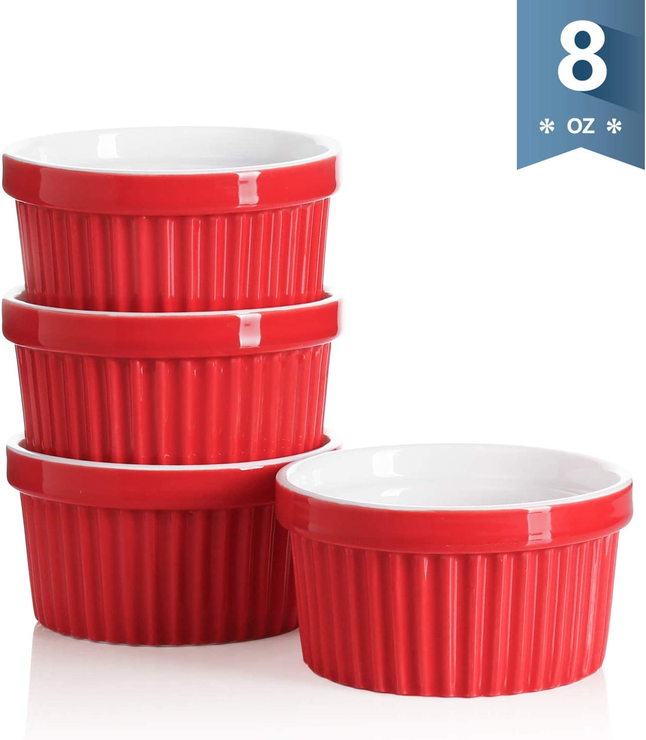 Sweese 501.104 Porcelain Souffle Dishes, Ramekins for Baking - 8 Ounce for Souffle, Creme Brulee - Set of 4, Red