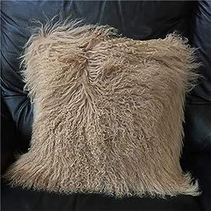 Seek4comfortable Mongolian Tibetan Lamb Fur Throw Pillow Cushion Cover Pillowcase,Khaki (24