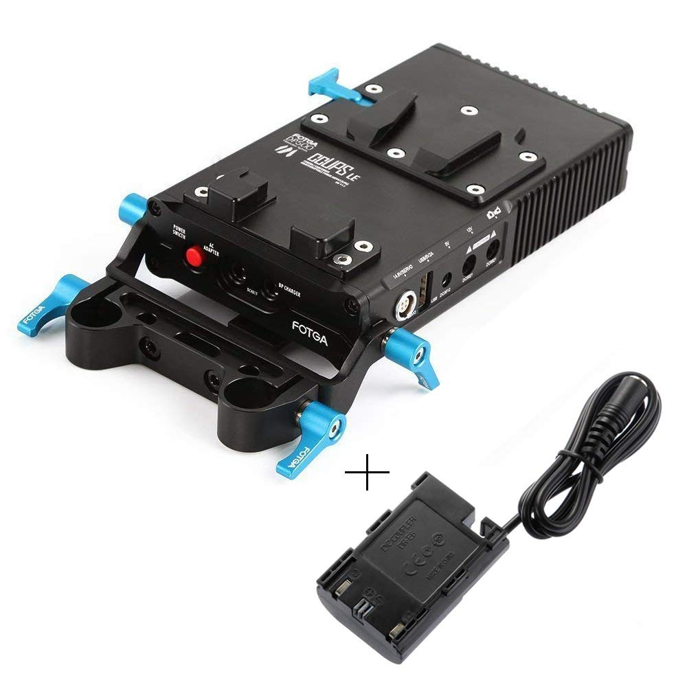 Fotga DP500 Mark III V-Mount V-Lock BP Battery Power Supply Plate with DR-E6 Dummy Battery Pack Adapter for Canon 5D 6D 7D Mark II III 70D 60D DSLR Camera 15mm Rod Rig by Run Shuangyu