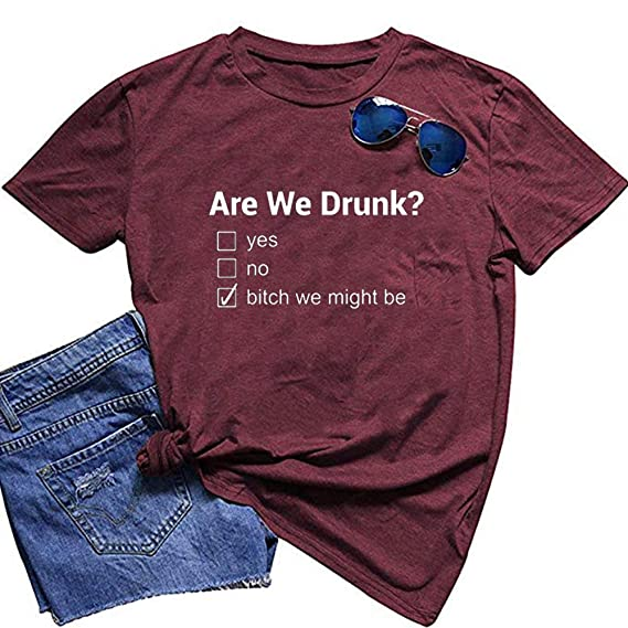 ZYX Women are We Drunk Letter Print Tops Casual Round Neck Short Sleeve Tee T-Shirt