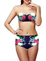 Ninimour Women Vintage Floral Push Up Swimsuit Bikini Top Bottom Set