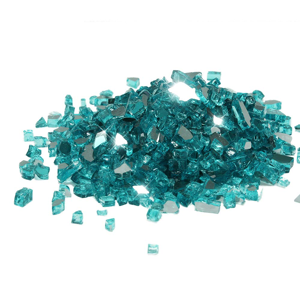 Starfire Glass 20-Pound (Fire Glass) 1/2-Inch Caribbean Blue Reflective
