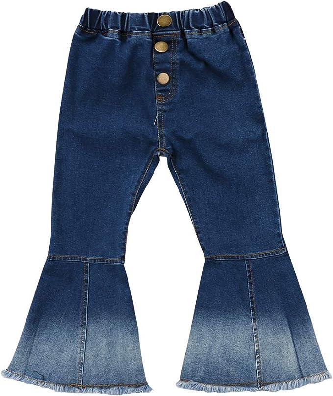 60s 70s Kids Costumes & Clothing Girls & Boys Specialcal Toddler Little Kid Girls Denim Jeans Bell Bottom Flare Pants Leggings Trousers $18.99 AT vintagedancer.com