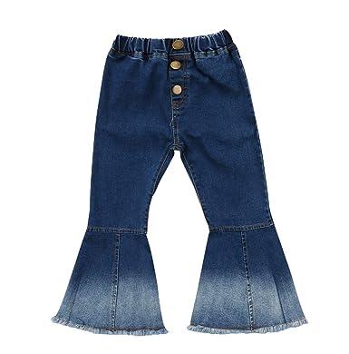64e33da3a0df5 Toddler Little Kid Girls Denim Jeans Bell Bottom Flare Pants Leggings  Trousers (2-3Y