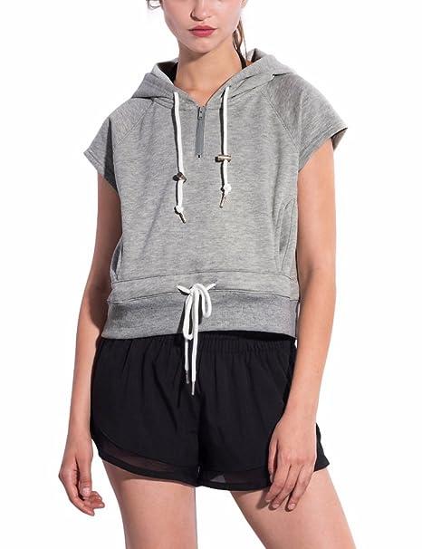 Amazon.com  PULI Women s Athletics Sleeveless Pullover Hoodie  Clothing 850d5e01d