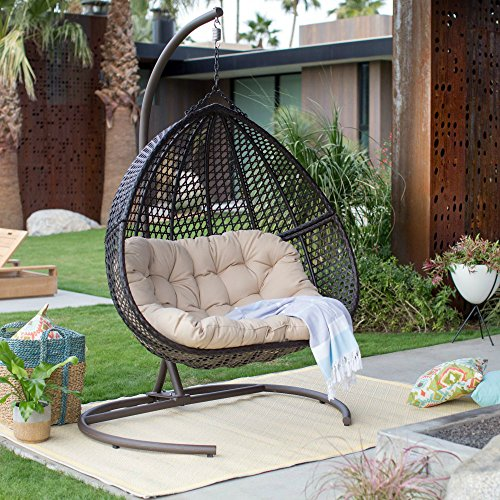 Resin Wicker Hanging Egg Loveseat Swing Chair, Indoor Outdoor Patio Backyard Furniture with Cushion and Stand, Espresso (Outdoor Wicker Egg Chair)
