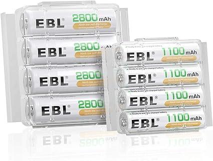 Oferta amazon: EBL 8 Pack AA AAA Pilas Recargables Ni-MH, 4 x Pilas Recargables AA 2800mAh y 4 x Pilas Recargables AAA 1100mAh 1200 Ciclos
