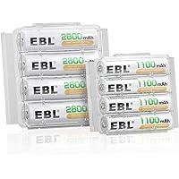 EBL 8 Pack AA AAA Pilas Recargables Ni-MH, 4 x Pilas Recargables AA 2800mAh y 4 x Pilas Recargables AAA 1100mAh 1200…