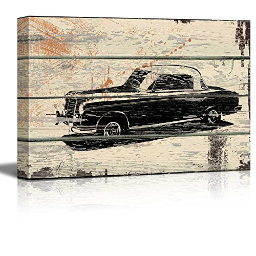 Classic Mercedes WoodCut Print Artwork Rustic