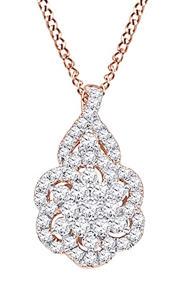 Amazon affy white natural diamond flower cluster pendant amazon affy white natural diamond flower cluster pendant necklace in 10k rose gold 062 cttw jewelry aloadofball Image collections