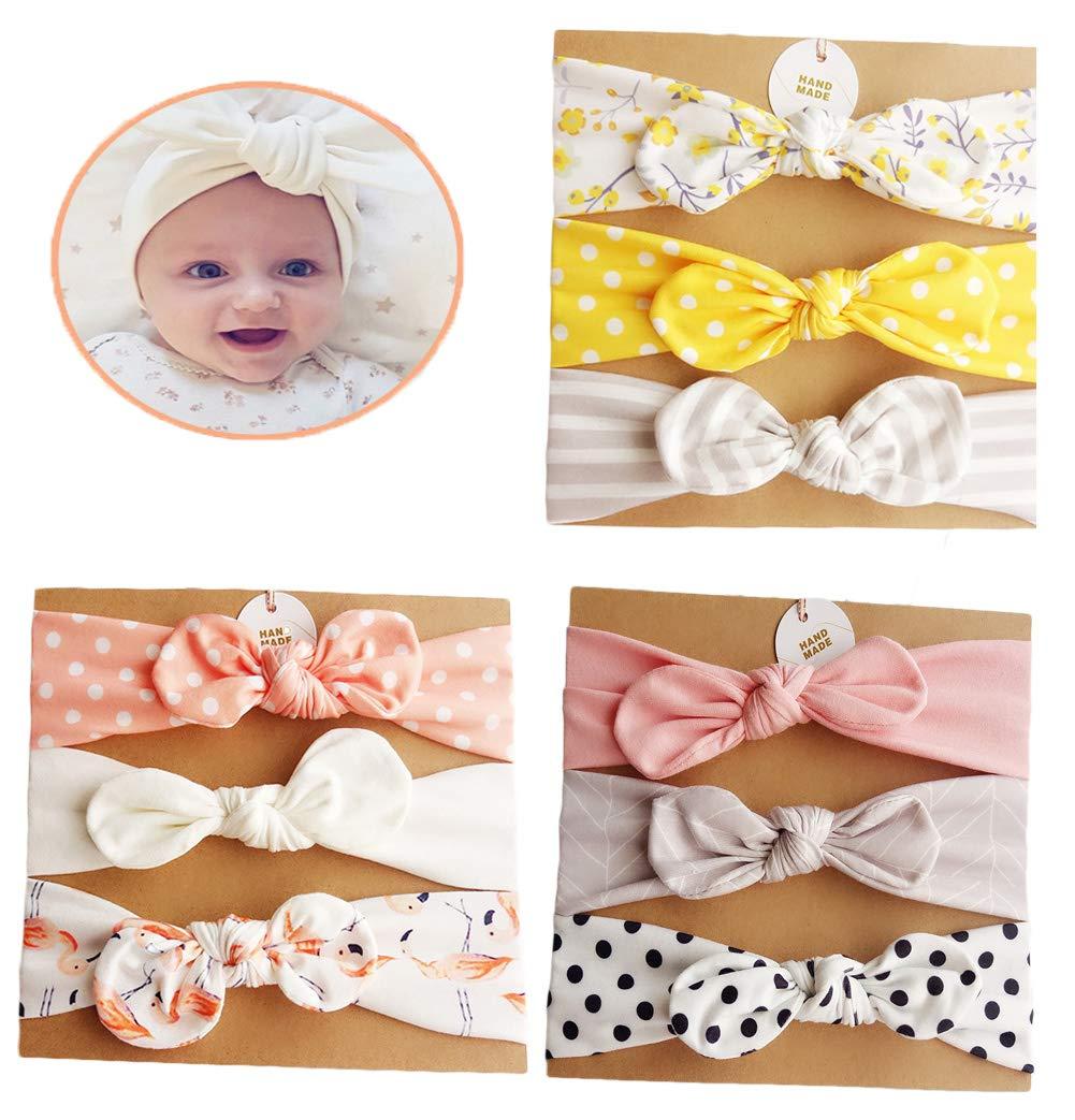 DANMY Baby Girl's Rabbit Ears Headband Cotton Cloth Elastic Hair Band Bow Soft Turban (Bow 9pcs (as Shown 2))