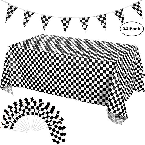 Race Car Party Supplies - 3 Pack Checkered Tablecloth, 32 ft Pennant Flag Banner, and 30 Pack Race Checkered Flag for Race Car Theme Party Sport Events and Kids Birthday ()
