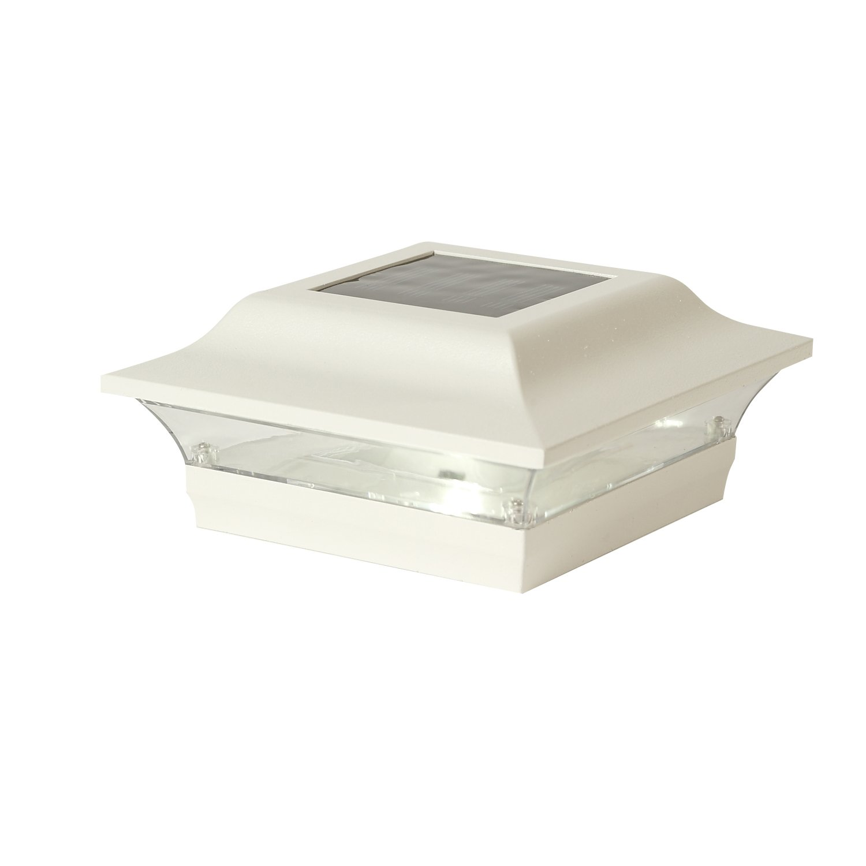 Classy Caps SL211W Aluminum Imperial Solar Post Cap, 4'' x 4'', White