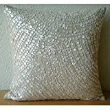 "Designer Ecru Pillow Shams, Allover Mother Of Pearl Pillow Shams, 24""x24"" Pillow Sham, Square Cotton Linen Shams, Contemporary Pillow Shams - Glazed Pearls"