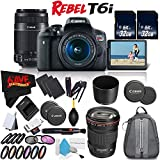 6Ave Canon EOS Rebel T6i DSLR Camera w/18-55mm Lens International Version (No Warranty) + Canon 55-250mm IS STM Lens + Canon EF 135mm f/2L USM Lens 2520A004 + Deluxe Cleaning Kit Bundle