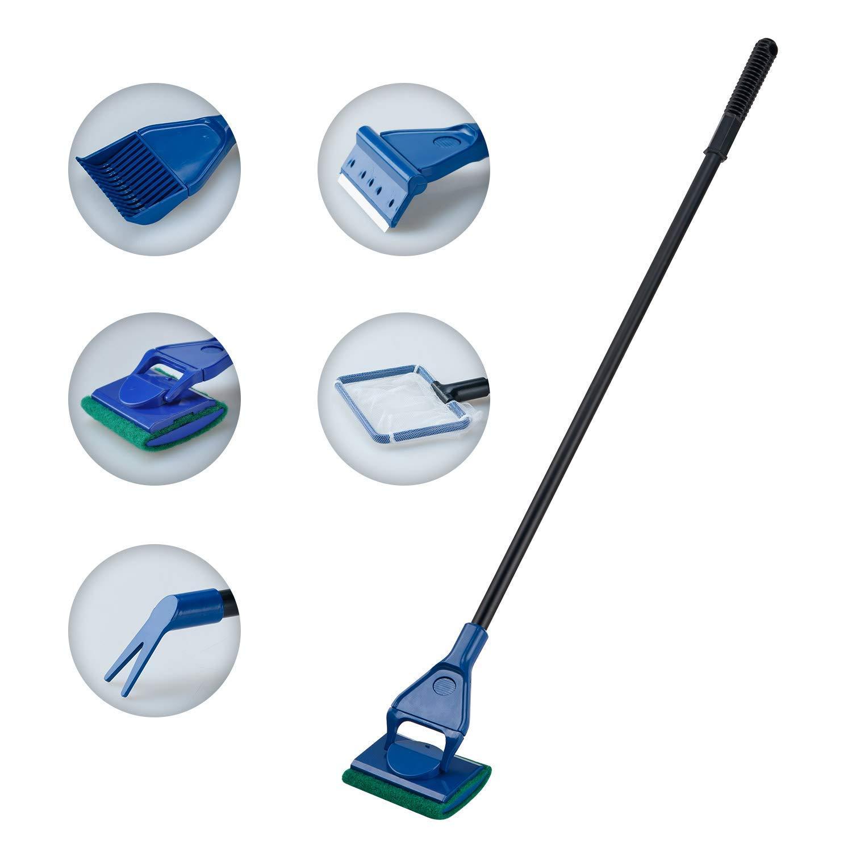 Lysport 5 en 1 Completo acuario conjunto de limpieza de tanque de pescado red de pescado + rastrillo + rascador + tenedor + esponja de cepillo de vidrio acuario herramienta de limpieza BLUEMANGO