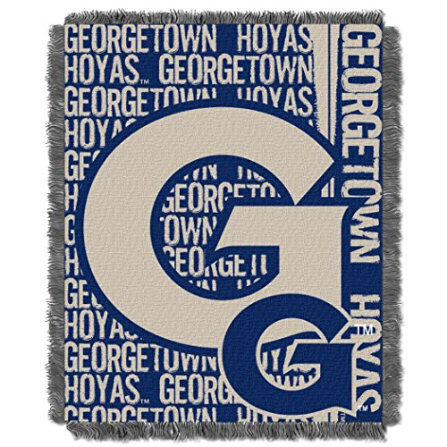 Georgetown Football Rug (Georgetown OFFICIAL Collegiate, Double Play 46x 60 Triple Woven Jacquard Throw)