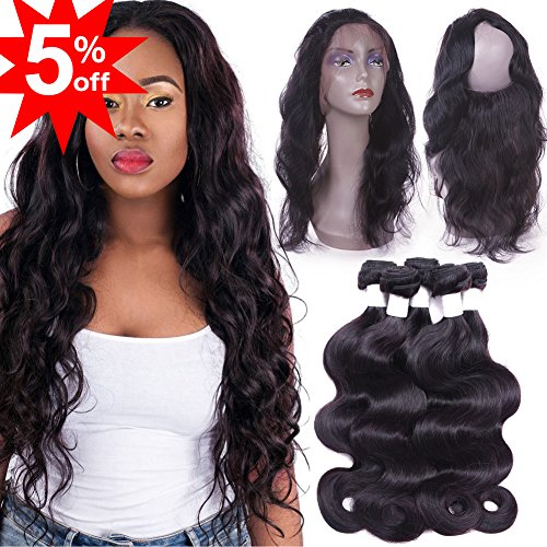 Flady 360 Lace Frontal with Bundles 8a Brazilian Body Wave Virgin Human Hair 3 Bundles with Pre-plucked 360 Lace Band Frontal with Baby Hair (14 16 18 with 12inch 360 frontal) by Flady