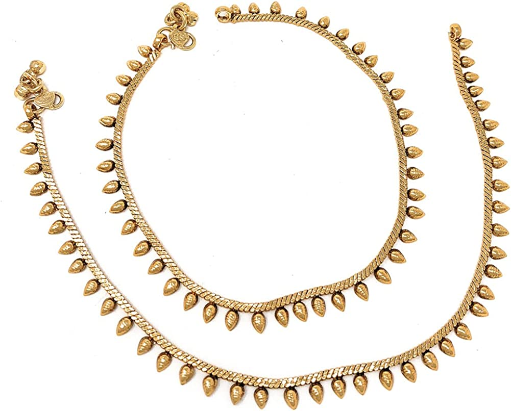 Ethnic Pakistani Indian Gold Plated Payal Anklet Pair Tear Drop Design
