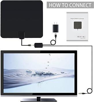 Bestlinktech Antena digital interior HTDV y TDT con amplificador de 80 km, amplificador de señal desmontable, VHF / UHF / FM, USB y mejora del cable coaxial 13,2: Amazon.es: Electrónica