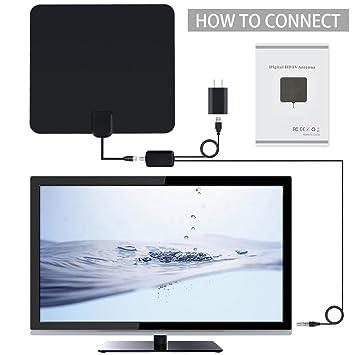 Bestlinktech Antena digital interior HTDV y TDT con amplificador de 80 km, amplificador de señal