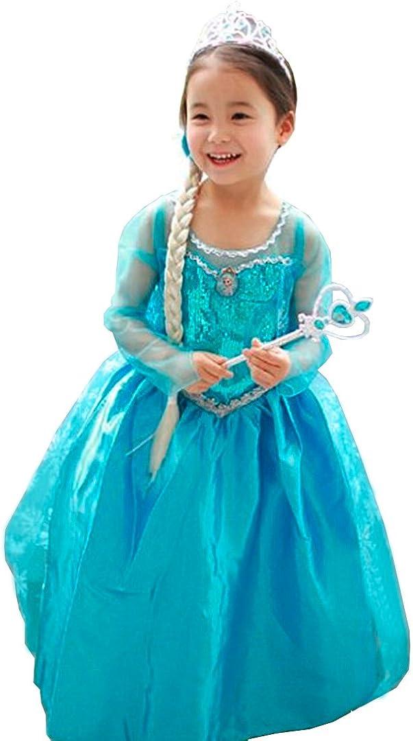 Cirad Vestido Niñas Disfraz Anna Elsa (120 (4-5 Años)): Amazon.es ...