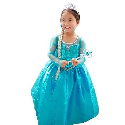 Disfraz Vestido Elsa Anna Frozen con Varita Y Corona (140 (6-8 ...