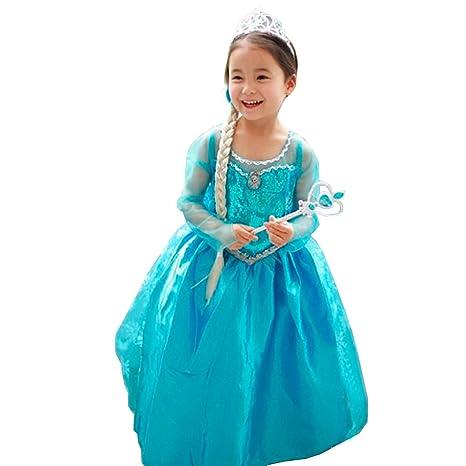 49cfda61a Disfraz Vestido ELSA ANNA Frozen con VARITA Y CORONA (110 (3-4 años ...