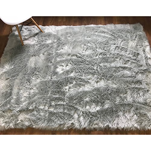 Serene Super Soft Faux Sheepskin Shag Silky Rug Accent Decorative Childrens Room Rug Steel Gray,5' x 7' by Super Area Rugs
