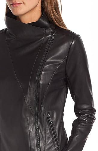 DashX 100/% Pure Womens Long Sleeve Full Zipper Leather Moto Jacket Black