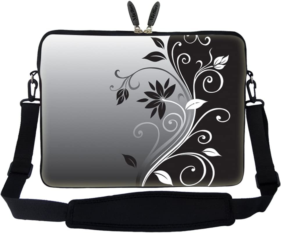 Meffort Inc 15 15.6 inch Neoprene Laptop Sleeve Bag Carrying Case with Hidden Handle and Adjustable Shoulder Strap - Gray Black Swirl Design