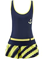 Chrysea Big Girls' Swimwear Striped Skirt Two-piece Swimsuits