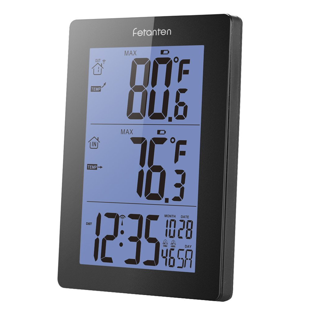 Fetanten Indoor Outdoor Thermometer, Wireless Weather Station with Indoor Outdoor Temperature & Min/Max, Trend, Alarm Clock, Calendar | 5.7 inch Large LCD-Display