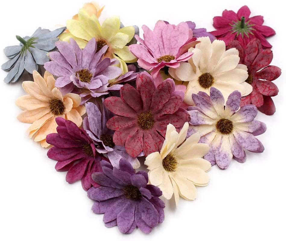Retro daisy Fake flowers bulk Artificial roses flowers fake roses Silk Flowers Head Wedding Decoration DIY Party Festival Home Decor Wreath Scrapbook Craft Fake Flowers wall decor 30pcs 6cm (Colorful)