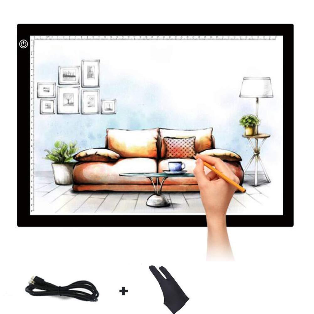 Gant Dessin Plaque Avec Luminosit/é R/églable A3 Ultramince Portable Lumineuse Dessin LED USB Rechargeable Avec Tablette Lumineuse