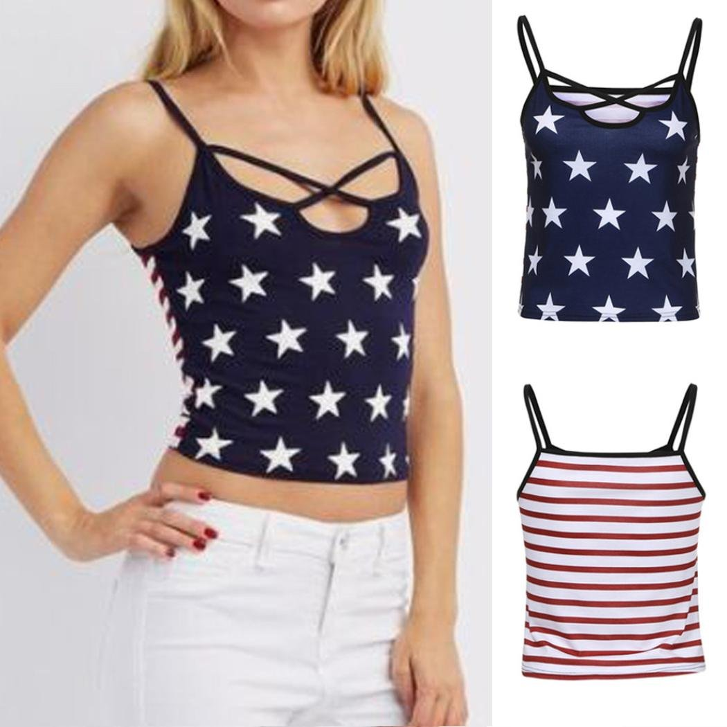 Owill Women Ladies Summer American Flag Print Stars Casual Cross Strap Tops Shirts Tank Vest at Amazon Womens Clothing store: