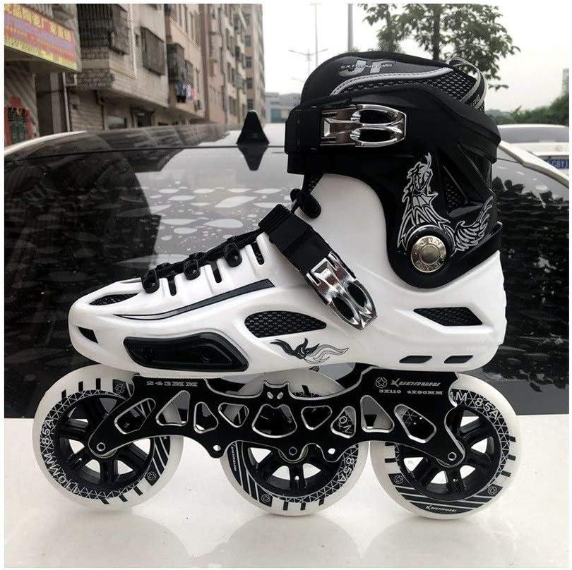 XDSAインラインスケート インラインスケート、白黒3輪110ミリメートルホイール成人用単列スケートフルフラッシュスケート (Color : A, Size : EU 41/US 8/UK 7/JP 25.5cm)