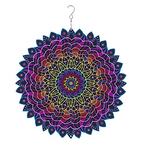 windmas – 3D Mandala Wind Spinner Decorations – Laser Cut Metal Mandalas Art, Starburst Hanging Décor – Indoor/Outdoor Decor