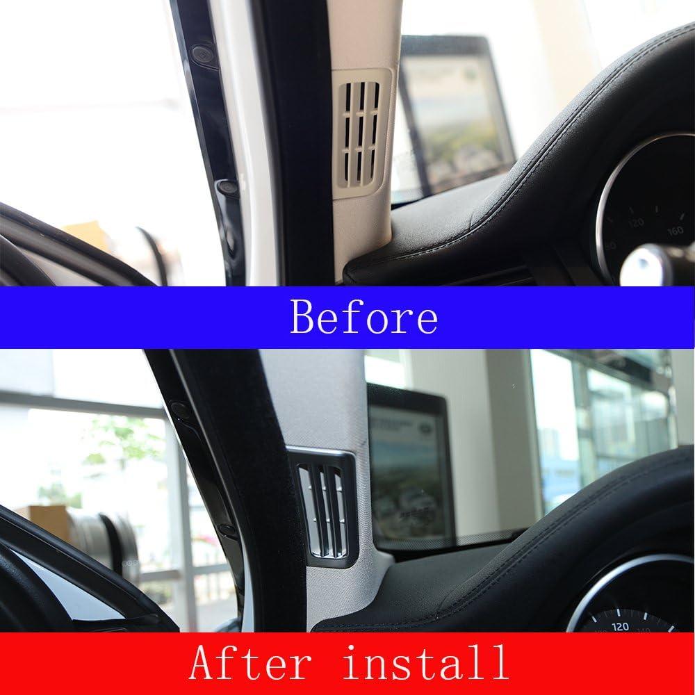 2Pcs Car ABS Matte Silver A Pillar Air Conditioning Vent Outlet Cover Trim 3D Stickers Parts Accessory For Rangerover Evoque 2012-2018