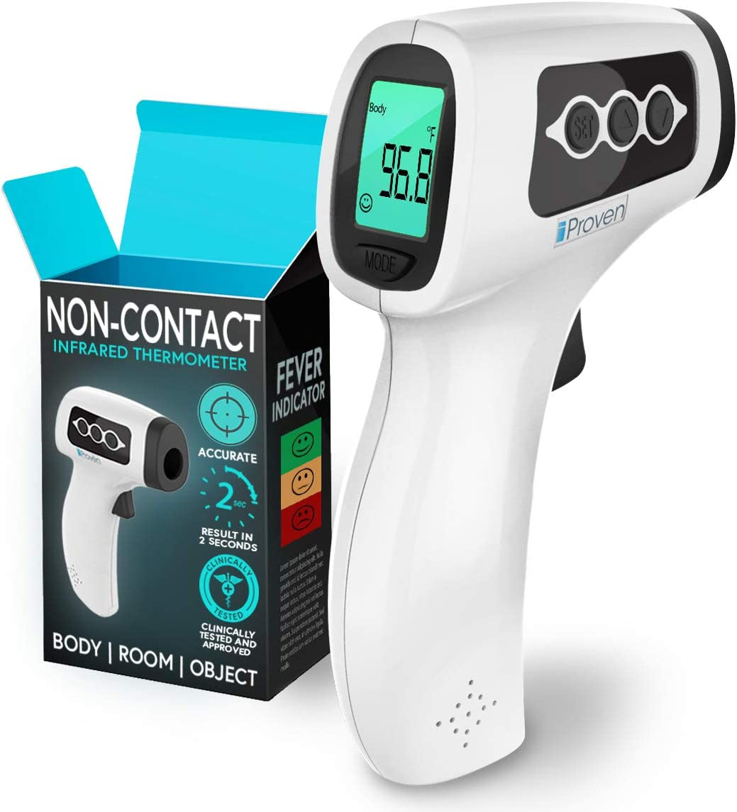 iProven Forehead Thermometer - Clinically Accurate - 3 in 1 Thermometer - Fever Indication - Silent Mode - Readings in 1-2 Seconds - Non Contact Thermometers for Baby and Adults NCT-336BL