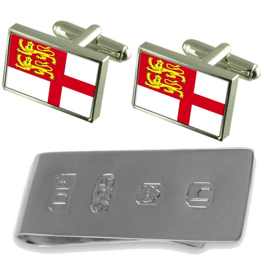 Select Gifts Sark Flag Cufflinks /& James Bond Money Clip