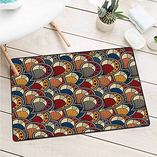 Custom&blanket African Welcome Door Mat Paisley Motifs with Geometric Design Dots and Lines Teardrop Shape with Curved Tip Machine Washable Door Mat (W31.5 X L47.2 inch,Multicolor)