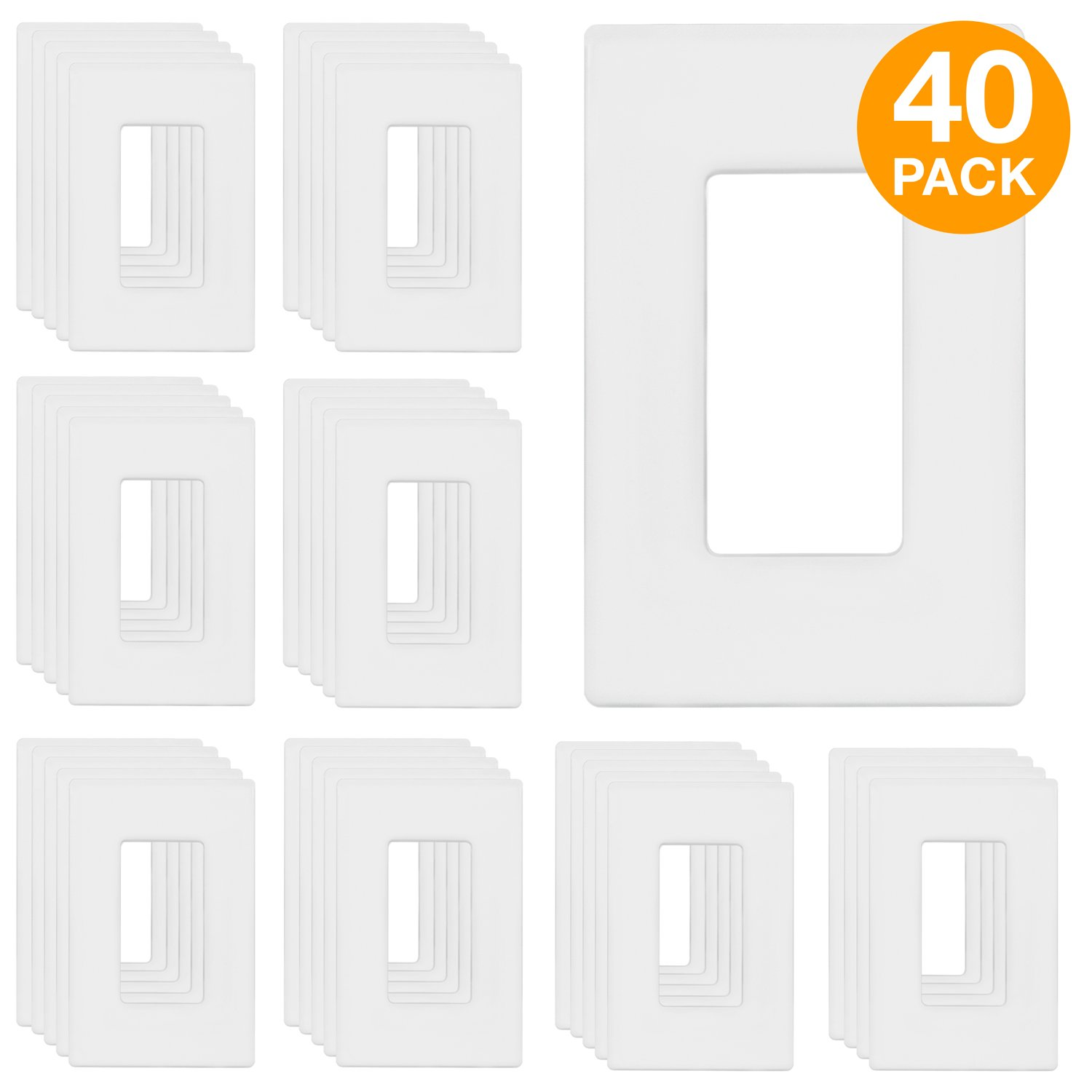 """ENERLITES Screwless Decorator Wall Plates Child Safe Outlet Covers, Size 1-Gang 4.68'' H x 2.94"""" L, Unbreakable Polycarbonate Thermoplastic, SI8831-W-40PCS, White (40 Pack)"""