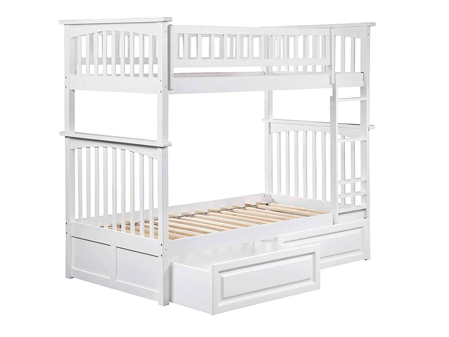 Atlantic Furniture Columbia Bunk Bed with 2 Raised Panel Bed Drawers, Twin Twin, White