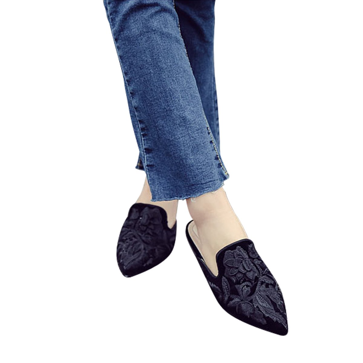 Women Velvet Backless Slip on Slides MAVIRS Mules for Women