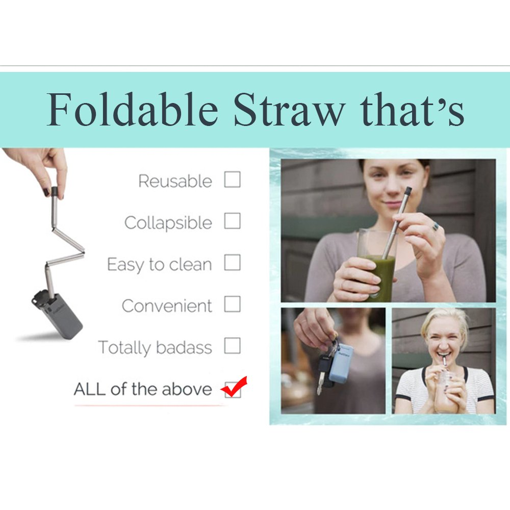 Rommeka Foldable Flexible Nontoxic Straw,Eco-Friendly,BPA Free,Reusable,Healthy,Portable,Unbreakable,Washable,Zero-Waste Premium Stainless Steel Drinking Straws,No Metal Aftertaste & 1 Travel Cases by Rommeka (Image #5)