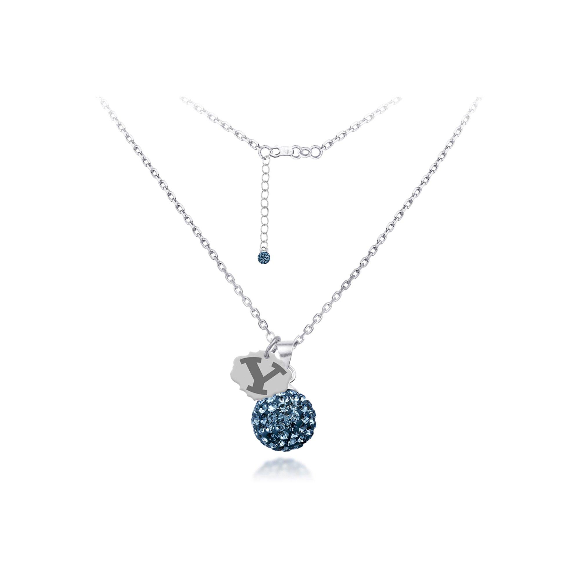 DiamondJewelryNY Silver Pendant, Spirit Sphere Neck/Brigham Young Univ