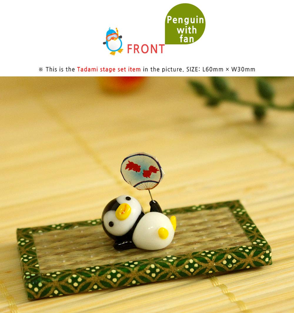 KAZALEE MALL Penguin Figure and Tatami Stage Set Glass Handmade Penguin Miniature Interior Set Doll