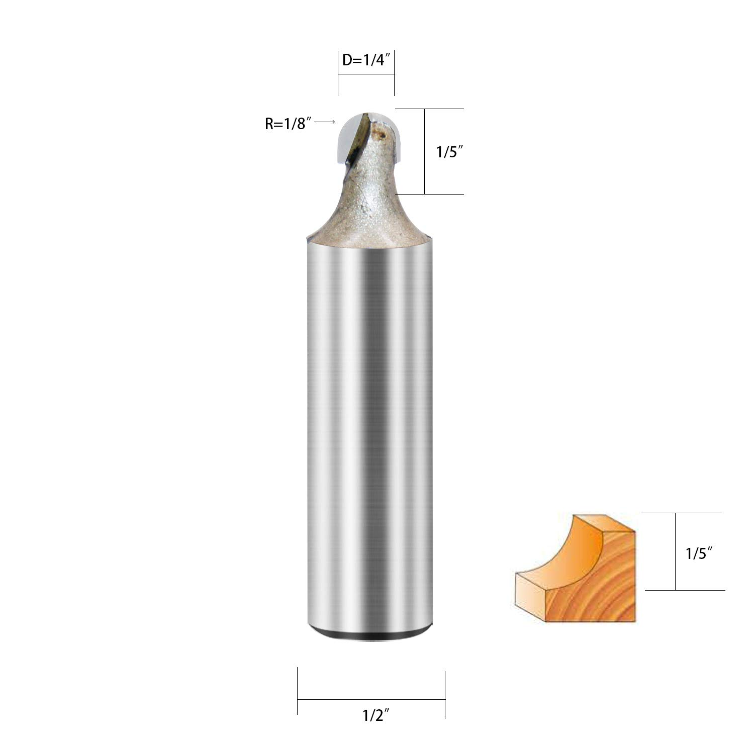 1//2X1-5//8 Core Box Router Bit Double Flute Round Nose Router Bit Carbide Tipped Woodworking Tool Round Groove Router Bit 13//16/'/' Radius x 1//2 inch Shank