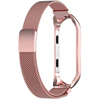 Leisial. Correa de Reloj de Pulsera para Xiaomi Mi Banda 3 - Acero Inoxidable Ajustable para Mujer Hombre (Circunferencia de la muñeca: 210 * 12mm)